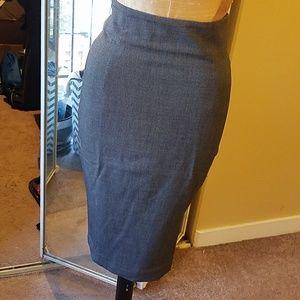 H&M high-waisted grey pencil skirt